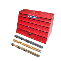 Red cabinet Drill Box Displays