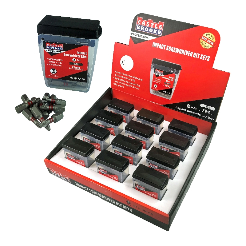 Pozi No.2 Impact Bits 25mm Display Box-12 Sets x 10pcs